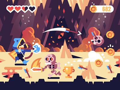 RPG Game Concept flat illustration vector skeleton adventure video game hero mobile rpg character concept game