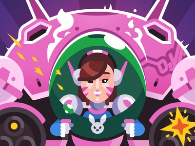 Overwatch   D.Va blizzard fanart shooter hero illustration vector game character hana song hanasong dva overwatch
