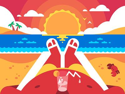 Summertime vacation illustration flat vector relaxing tourist sea man hot beach summer summertime