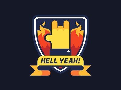 Hell Yeah! level up rock horns success flat vector icon badge gamification achievement game motivation