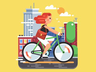 City Bike Ride urban road character bicyclist bicycle illustration flat vector girl ride bike city
