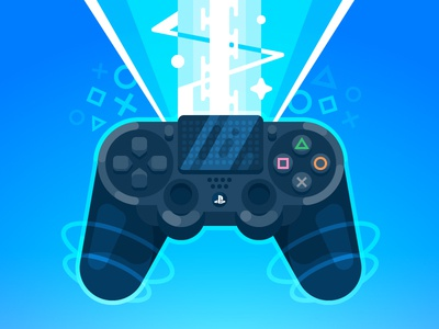 Let's Play! ps4 playstation dualshock4 gaming game vector illustration gamepad flat entertainment controller console