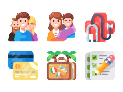 One More Icon/Illustration Pack (WIP) document vacation holiday suitcase money card cross health character people illustration icon