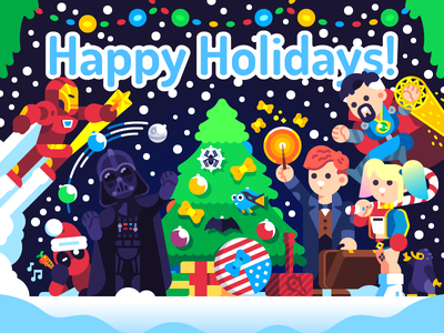 Happy Holidays! deadpool newt scamander star wars flat illustration vector doctor strange character dc disney happy holidays marvel