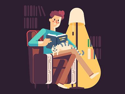 Reading Man kitten floor lamp comfort sleeping cat reading book armchair interior flat character man illustration vector