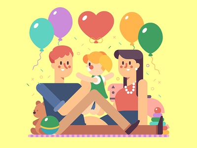 Happy Family character young illustration flat childhood vector happiness baby parenting kid love family