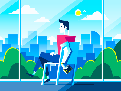 By the Window vector summer landscape city reading business book window man illustration flat character
