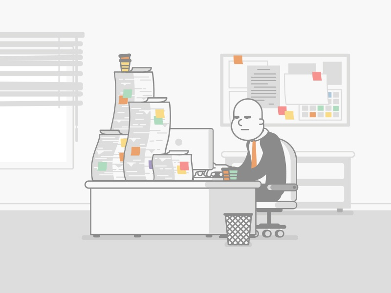 The Office desk office wip motion design character design flat design illustration
