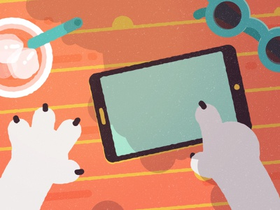 Summer Work hands tablet topview motiondesign charactedesign flatdesign illustration