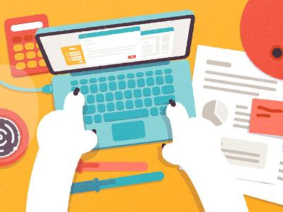 Still Working hands laptop topview motiondesign charactedesign flatdesign illustration