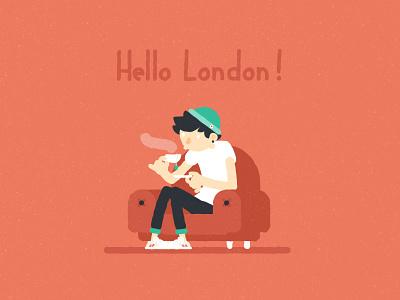 Hello London teatime couch london charactedesign flatdesign illustration