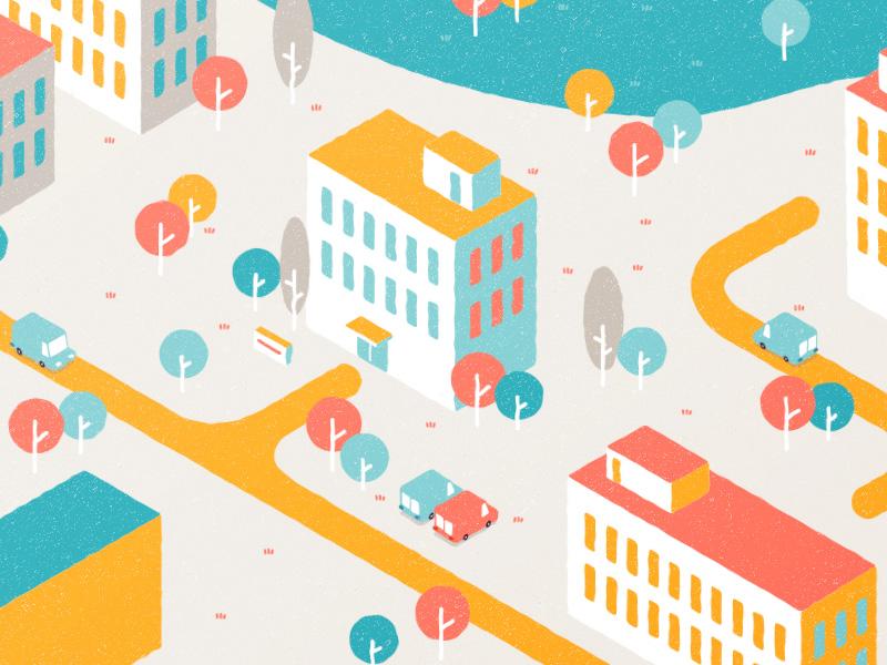 City city isometric view motiondesign flatdesign illustration