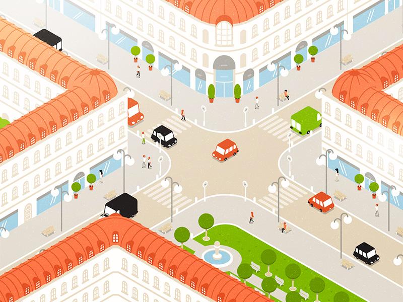 Paris City city isometric view motiondesign flatdesign illustration