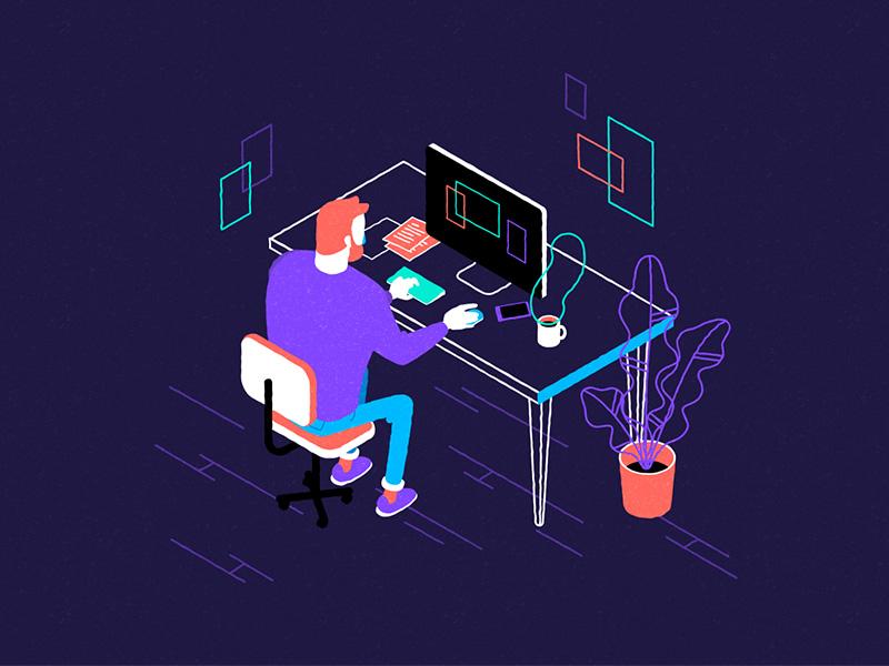 Man at Desk isometric view motionproject charactedesign flatdesign illustration