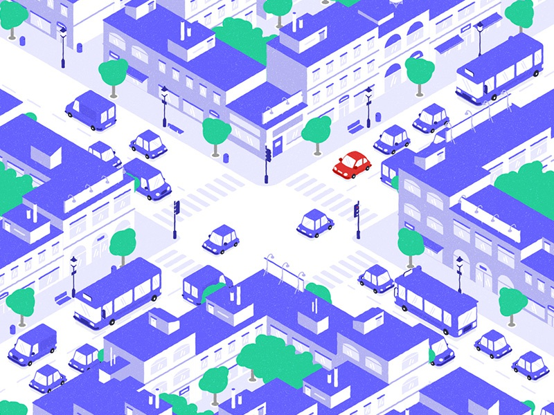 City cityscape city isometric view motionproject flatdesign illustration