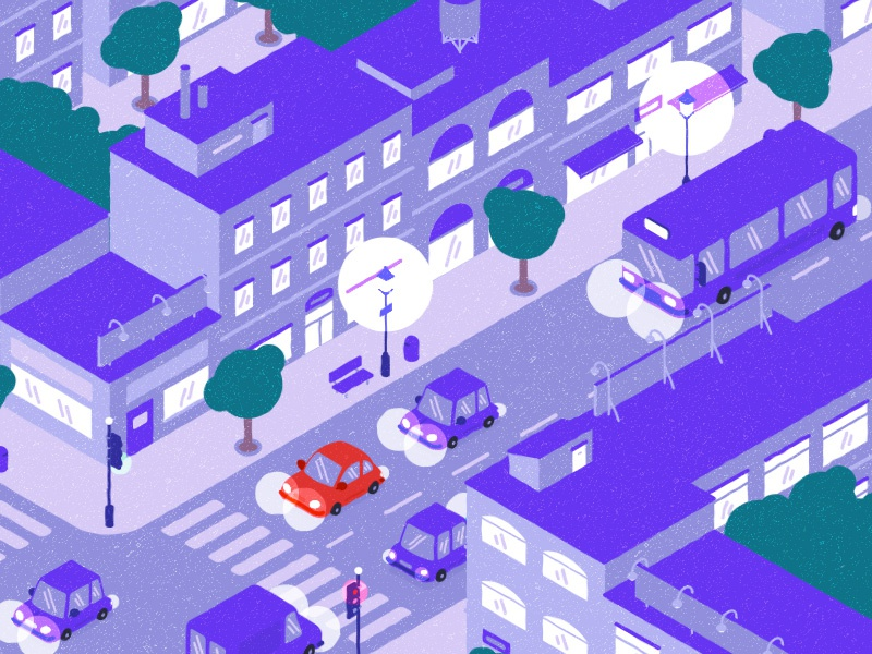 Night cityscape city isometric view motionproject flatdesign illustration
