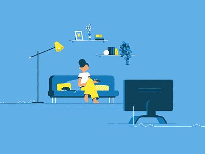 Living room cat livingroom motionproject vector illustrator illustration