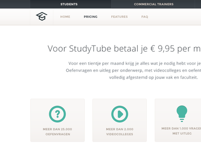 Pricing page pricing page pay study tube video questions header submenu pressed green