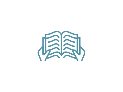 Knowledge logo mark knowledge education book read reading icon hands pages line