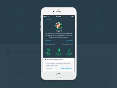 Participant Profile ios iphone achievements board comments health user participant profile