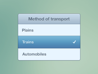 Method of transport plains trains automobiles ui interface element test style selected check selected state