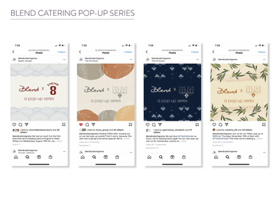 Blend Catering Pop-Up Food Series social media design graphic design clean design catering food and drink marketing agency