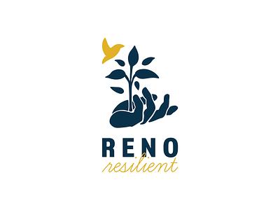 Reno Resilient Branding Identity nature branding yellow blue marketing agency illustration logo modern design non-profit brand identity brand design