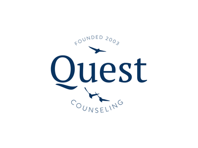 Quest Counseling Branding Identity logo blue and white blue professional marketing agency logo refresh brand design clean counseling