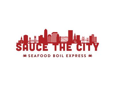 Sauce the City Branding Identity clean design modern logo red logo marketing agency brand design seafood logo seafood menu food and drink restaurant logo