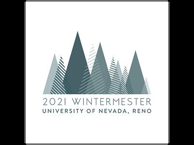 University of Nevada, Reno Wintermester 2021 Logo minimalist school logo marketing agency clean design geometric design teal blue triangle logo geometric university logo