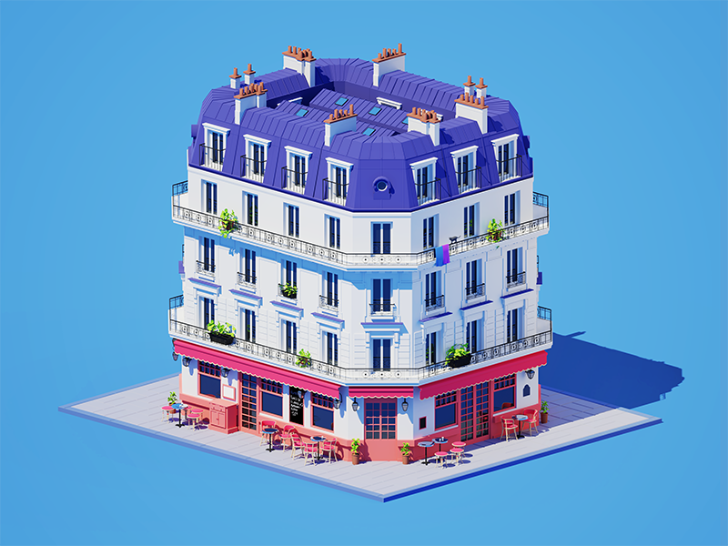 Parisian Cafe architecture orthographic 3d
