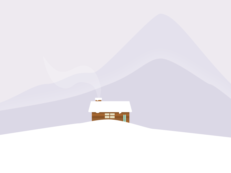 Little cabin illustration winter flat mountains snow