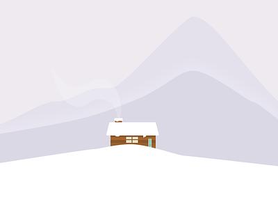 Little cabin illustration winter flat mountains snow