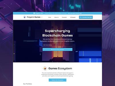 Polyient Games Landing Page webdesign blockchaintechnology esports crypto gaming blockchain