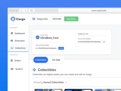 Cargo.Build (Collections) ui blockchain ux design illustration
