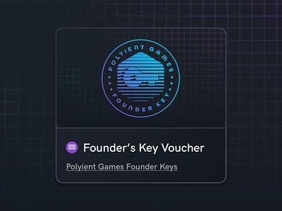 Polyient Games Founder Key Voucher gaming blockchain branding design illustration