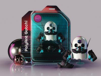 Aavegotchi NFT: Polyant Gotchi toy design blender 3d design nft blockchain