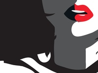 Femme de noir en rouge