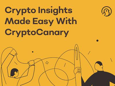 CryptoCanary—Crypto Insights Made Easy yellow and black blockchain cryptocanary review ui crypto reviews cryptocurrency illustration