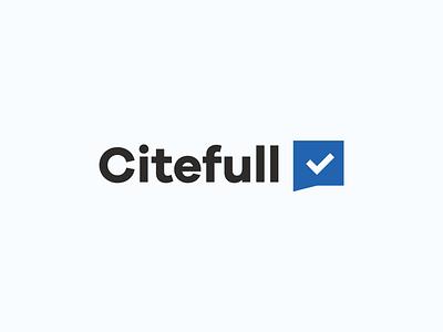 Citefull Logo Concept chat check blue incubator blockchain logo news