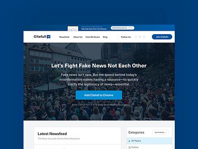 Citefull Homepage ux ui fake news newsfeed blockchain web design