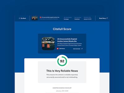 The Citefull Score blockchain dashboard scorecard score ux ui branding