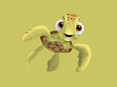 Squirt illustration turtle squirt pixar disney art procreate