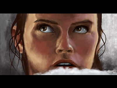 Rey iPad Painting adonit jot touch procreate ipad digital painting the force awakens rey star wars