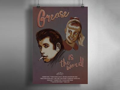 Grease Poster stylus vintage illustration app procreate ipad movie poster grease