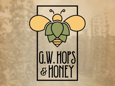 G.W. Hops & Honey Logo  mark brand identity graphic design design logo yellow green beer hops honey bee
