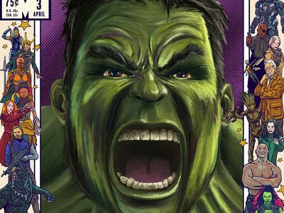 Artists Assemble 3000 Tribute - Hulk poster movie poster illustration superheroes marvel applepencil ipadpro digital digital painting hulk avengers photoshop procreate artistsassemble3000