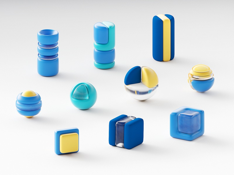 3D Icons isometric pack branding sphere geometic iconography iconset ux ui transparency transparent c4d 3d geometry icons