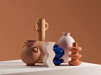 Magic Vases product arty artist mood spline smooth elegant terracotta artdirection art vases branding octane illustration 3d loop c4d animation motion gif