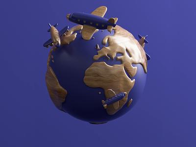 Airplanes Loop sphere world earth app flight airplane airport fly travel cute design branding octane illustration 3d loop c4d animation motion gif